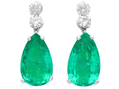 15.51ct Colombian Emerald and 1.12ct Diamond, Platinum Drop Earrings - Vintage Circa 1950 (1 of 9)
