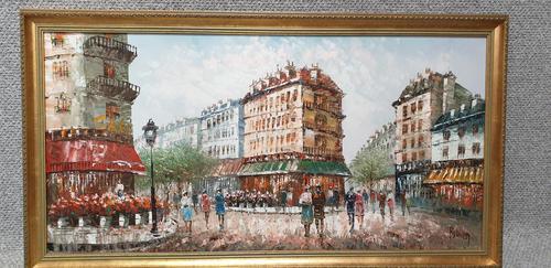 Large French Scene Oil Painting 'Burnett' (1 of 3)