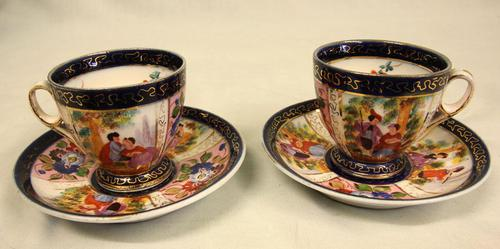 Pair of Pretty Small Cups & Saucers (1 of 5)