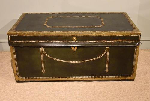 19th Century Camphor Leather Travelling Trunk (1 of 7)