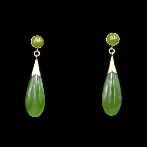 Vintage Green Nephrite Jade 9K 9ct Yellow Gold Drop Dangle Earrings (1 of 5)