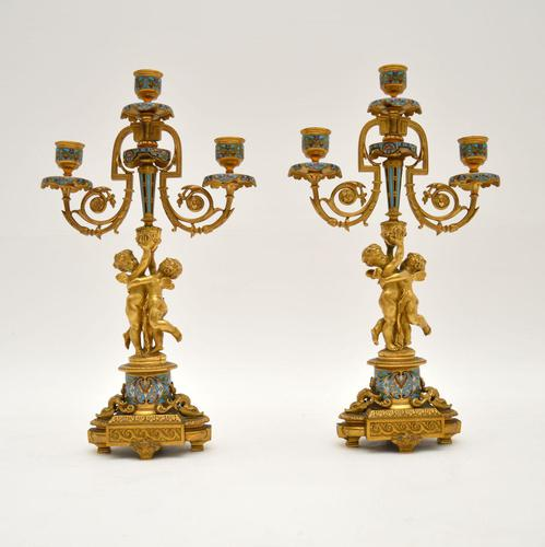 Pair of Antique French Victorian Gilt Bronze Champlevé Candelabra (1 of 12)