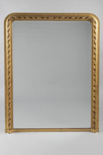 Large 19th Century French Gilt Overmantle Mirror (1 of 6)