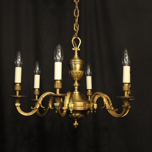 French Gilded Bronze 6 Light Chandelier (1 of 10)