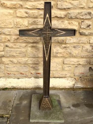 French Bronze Altar Cross Crucifix on Slate Stone Base (1 of 9)