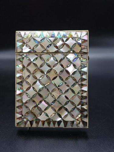 Good Late 19th Century Mother of Pearl & Abalone Pearl Card Case (1 of 4)