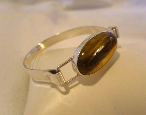 """Vintage Sterling Silver & Tigers Eye Bangle 1977 Silver Bracelet 6 1/2"""" Length (1 of 12)"""