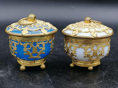 Palays Royale Pair of Boxes in Blue Opaline & Golden Brass Frame (1 of 5)