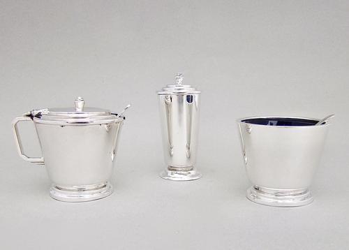 Art Deco Sterling Silver Three Piece Condiment Set by Reid & Son, Birmingham 1934 (1 of 5)