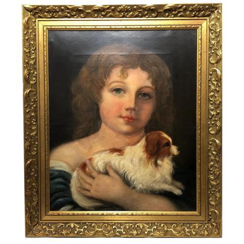"""Genre 19th Century Oil Painting Portrait Young Girl & Cavalier King Charles Spaniel """"Faithful Friend"""" (1 of 12)"""