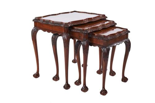 Burr Walnut & Carved Nest of 3 Tables c.1930 (1 of 7)