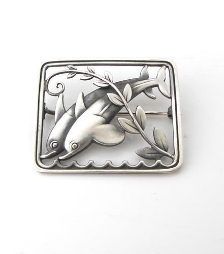Beautiful Georg Jensen Vintage Silver Arno Malinowski Dolphin Design Brooch c.1930 (1 of 3)