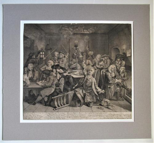 Original Second State Hogarth Print, A Rake's Progress Plate 6, 1735 (1 of 9)