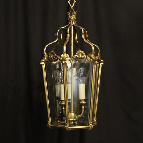 French Gilded Bronze Triple Light Antique Hall Lantern (1 of 10)