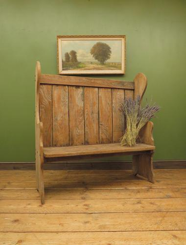 Antique Elm Tavern Bench Settle, Rustic Hall Seat (1 of 19)