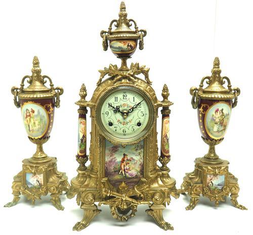 Vintage Sevres Mantel Clock Garniture 8 Day Striking Ormolu Mantel Clock (1 of 14)
