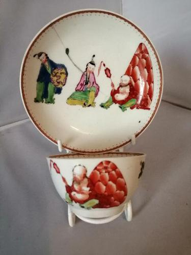 Early Worcester Chinoiserie Tea Bowl & Saucer (1 of 6)