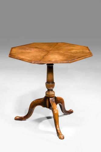 Early 20th Century Finely Figured Octagonal Tilt Table (1 of 3)