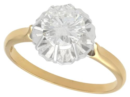 1.18ct Diamond & 18ct Yellow Gold Solitaire Ring c.1930 (1 of 9)