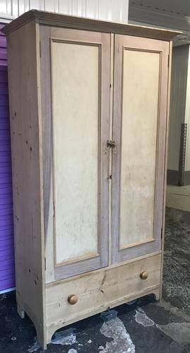 Excellent Victorian Vintage Stripped Pine Wardrobe (2 x Sections & Large Drawer) (1 of 9)
