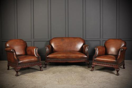 Hand Dyed Chestnut Leather & Mahogany Club Suite (1 of 19)