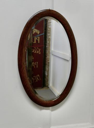 Large Edwardian Oak Oval Mirror (1 of 4)