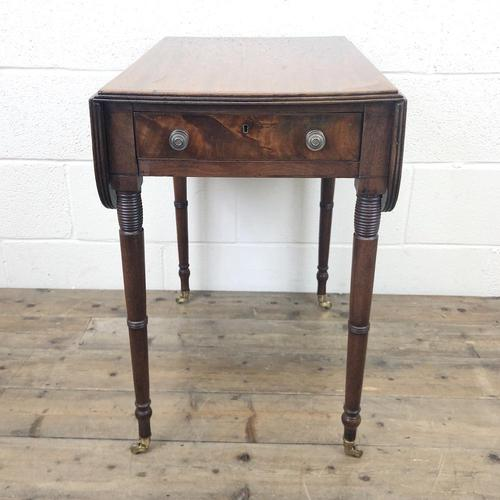 Antique Mahogany Drop Leaf Side Table (1 of 11)