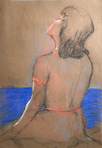 Original pastel 'The sun bather' by Dennis Gilbert NEAC. B.1922. From a studio collection (1 of 2)
