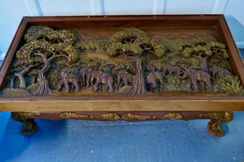 Indian Teak Coffee Table & Side Table Set Carved with Elephants (1 of 11)