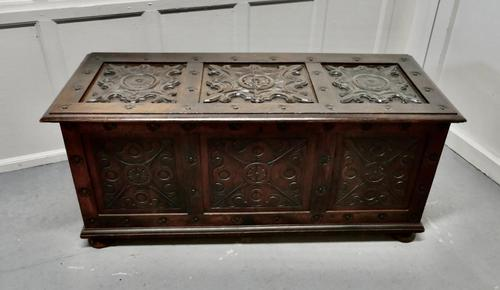 Large 18th Century Carved Oak Coffer (1 of 7)