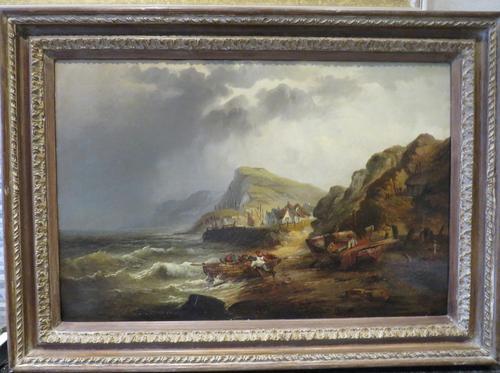 Large Marine Coastal Scene by W. Stone c.1880 (1 of 6)