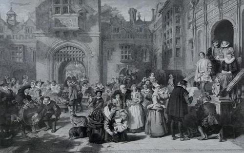 Large 19th Century Engraving. Busy Interior Courtyard Scene (1 of 7)