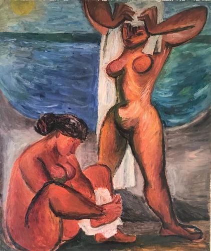 Original oil on canavas 'The sun worshippers' by Antonin (Tony) Bartl 1912-1998 (1 of 5)