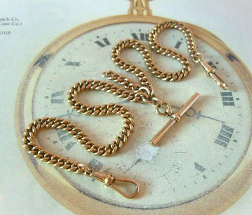 Antique Pocket Watch Chain 1890s Victorian 18ct Rose Rolled Gold Albert With T Bar (1 of 12)