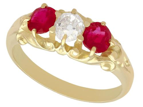 0.55ct Diamond & 0.80ct Ruby, 15ct Yellow Gold Dress Ring - Antique Victorian c.1900 (1 of 9)