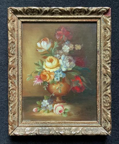 Superb Original Early 20th Century Continental Miniature Floral Still Life Oil Painting (1 of 11)