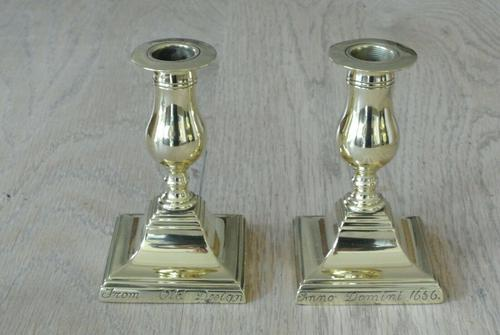 Pair of 17th Century Style Brass Candlesticks Dated 1656 W Soutter c.1910 (1 of 8)