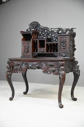 Carved Japanese Meiji Desk (1 of 12)