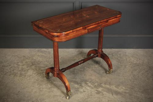 Rare Regency Rosewood Brass Inlaid Card Table (1 of 15)