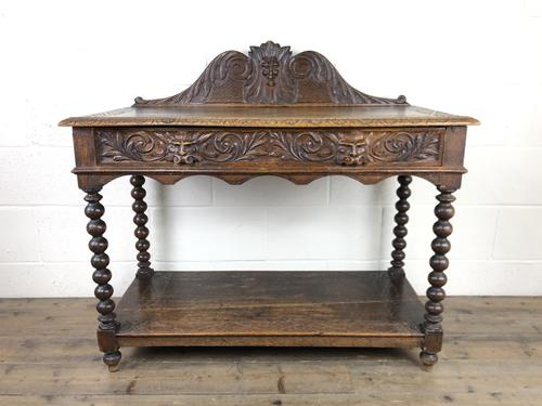 Victorian Gothic Oak Side Table with Green Man Details (1 of 17)