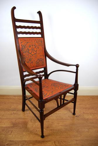 Edwardian Art Nouveau High Back Open Armchair (1 of 10)