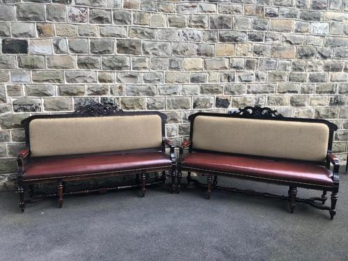 Matching Pair Antique Oak Benches (1 of 14)