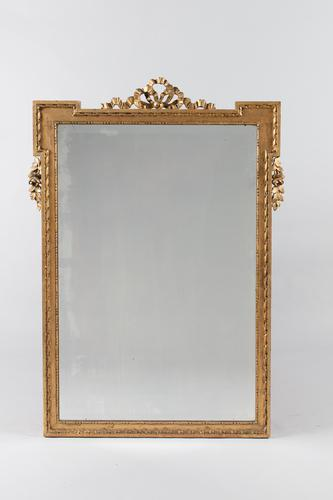 French Ribbon Top Gilt Overmantle Mirror (1 of 10)