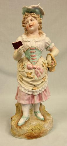 Antique Large Bisque Figurine of Young Girl (1 of 12)