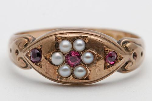 Victorian Gold, Ruby & Pearl Chester Ring (1 of 3)