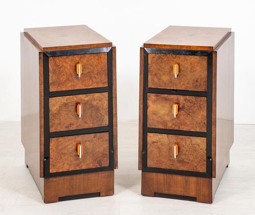 Stylish Pair of Burr Walnut Art Deco Bedside Cabinets (1 of 7)