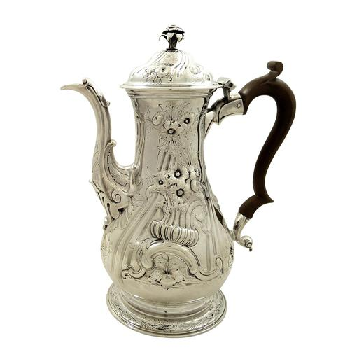 Antique Georgian Sterling Silver Coffee Pot 1759 (1 of 10)