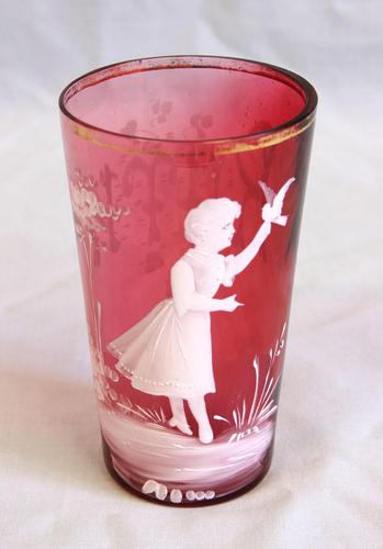 Antique Victorian Mary Gregory Cranberry Glass Tot (1 of 5)