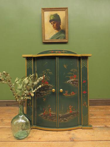 Vintage 1950s Chinese Painted Corner Cabinet, Racing Green (1 of 16)