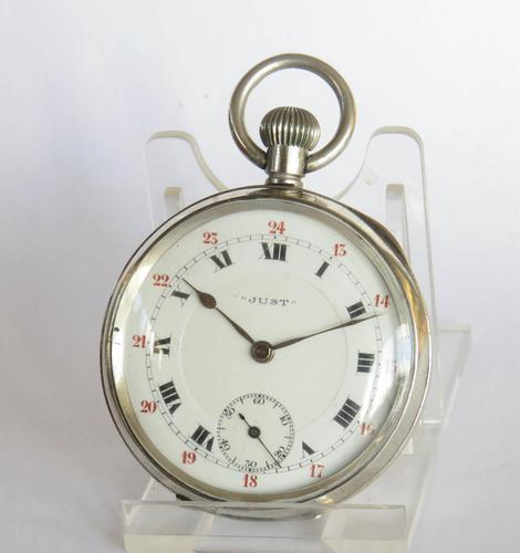 """1918 silver """"Just"""" pocket watch, 24 hour dial (1 of 5)"""